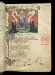 Two Monks Kneeling Before St. Edmund, In John Lydgate's 'The Fall Of Princes'